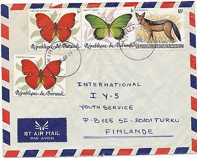 Burundi 1986 butterfly & fox stamp on  cover to Finland