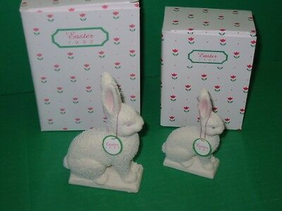 Dept. 56 1992 Easter Collectible Animal Figurines set of 2 rabbits 74985 &74993