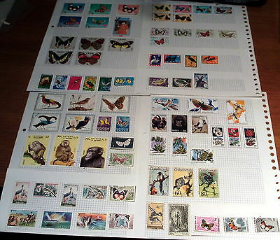 75 All World Stamps With Thematic Interest, Butterflies, Birds, Animals, Insects