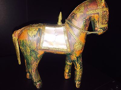 Lovely Wooden Horse Decorated With  Brass & Pretty Mother Of Pearl ��