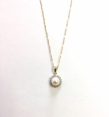 "10k Solid Yellow Gold 6.5 mm Pearl/Diamond Pendant w/18"" Chain"