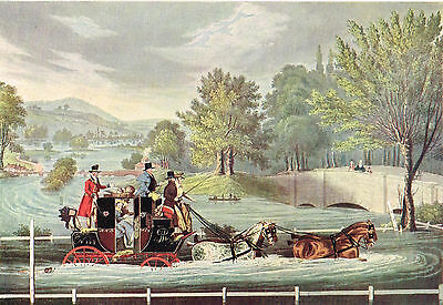 Mail Coach In A Flood by F.Rosenberg after James Pollard Antique 1908 Print