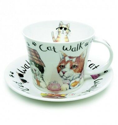 Roy Kirkham Animal Fashion Bone China Breakfast Cup & Saucer Cat Lovers Gift