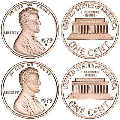 1979 S Lincoln Cent Type 1 & 2 Clear S Gem Deep Cameo Proof 2 Coin Set