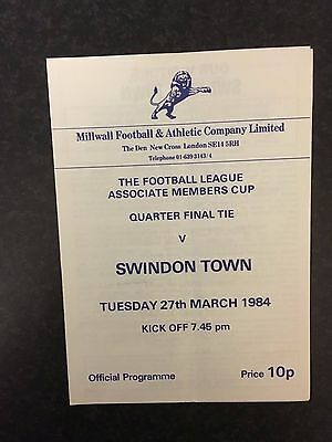 Rare Millwall v Swindon Town 1983/1984 83/84 Football Members Cup Programme