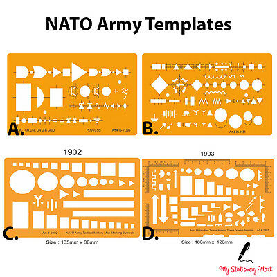 NATO Army Map Marking Military Troops Symbols Drawing Drafting Template Stencil