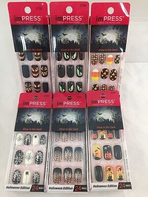 Lot of (6) Kiss imPRESS Broadway Press ON Nails Halloween Complete Set Spiders +
