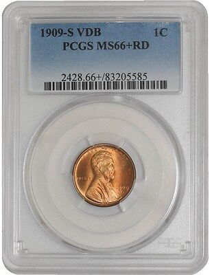 1909-S VDB Lincoln Cent 1c MS66+ RD PCGS