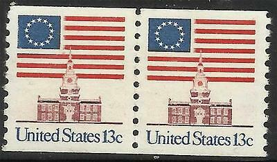 Scott 1625 US Stamp 1975 13c Flag and Independence Hall Coil Pair MNH