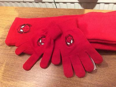 Red scarf and gloves embroidered Spider-Man on each never worn