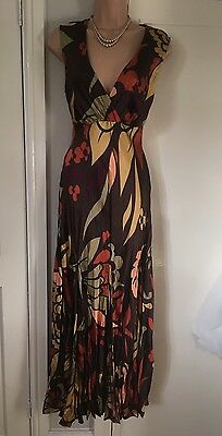 Principles Silk Multi Coloured Maxi Dress Size 12 Crinkle Style