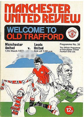Manchester United v Leeds United March 12th 1977  Football Programme no Token