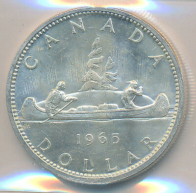 Canada Silver Dollar 1965 Type V - ICCS MS-63