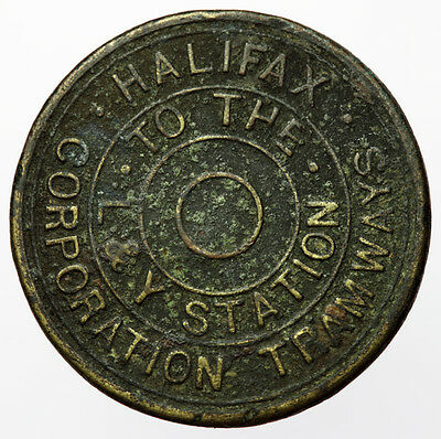 Rare: Halifax Corporation Tramways Token ~ To The L&Y Station ~ Ticket / Pass