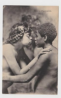 SUPERB OLD CARD ETHNIC YOUNG WOMAN GLAMOUR EROTIC c 1910 SEINS NUS