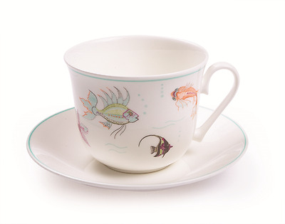 Roy Kirkham Aquariam Fish Nina Campbell Bone China Large Breakfast Cup & Saucer