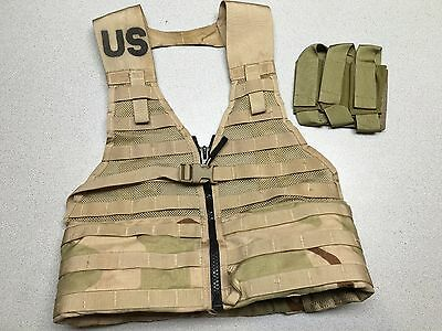 US Army MOLLE II FLC Fighting Load Carrier Vest Desert Tan Tactical LBV w Pouch