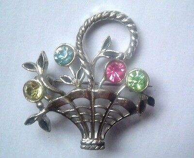 "1940s RHODIUM PLATE BASKET of FLOWERS with COLOURED STONE BROOCH  1 3/4"" (4.5cm)"