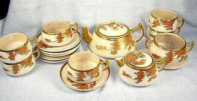 Japanese Satsuma Teaset - Service for 6 + Teapot Sugar Creamer - Black Mark