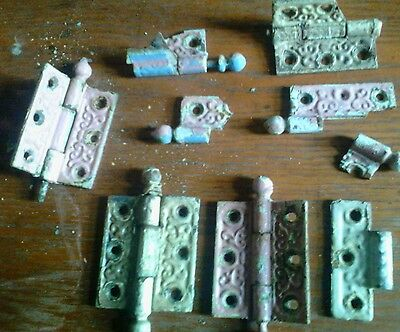 lot VICTORIAN ORNATE CAST IRON DOOR HINGES-antique hardware