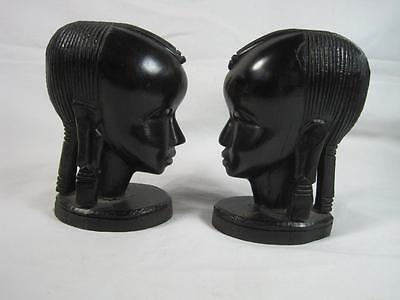 Pair of African Heads : Ebony Wood Carving