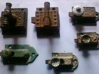 lot VICTORIAN ORNATE CAST IRON CUPBOARD LATCHES antique hardware