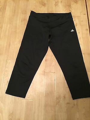 adidas Black Climalite 3/4 Ladies Running Fitness Leggings / Trousers M12/14