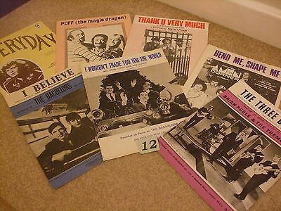 1960's  Sheet Music Collection. Seven Music Books. Pop Group selection.