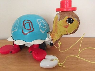 Vintage 1962 Fisher Price TURTLE PULL TOY #773