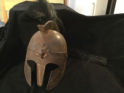 Copper Hand Made Greek Helmet With Hair Crest And Tail