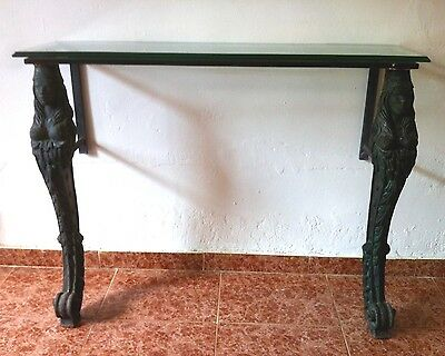 Mid Century Cast Iron with Bronze patine Monopodia Console Table with Glass top.