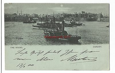 Wales Cardiff The Docks Early Vintage Postcard Used 1900