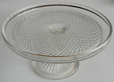 Beautiful Vintage Heavy Glass Cake Stand - 1970's