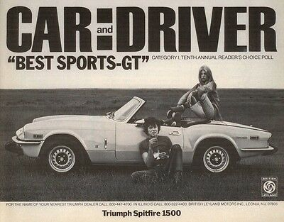 Classic Car Adverts Car and Driver mag Triumph Spitfire High Gloss A4 print
