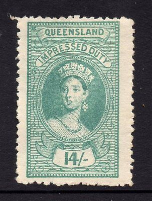 Queensland  Revenue 1895 Q.Victoria Impressed  Duty   14/- Shilling  CTO Mint/H