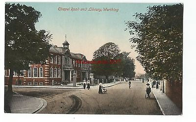 Sussex Worthing Chapel Road & Library Vintage Postcard