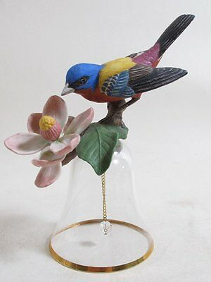 Franklin Mint Porcelain Glass Bird Bell The Painted Bunting