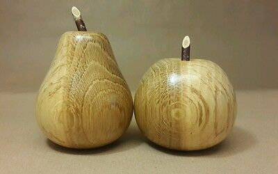 Turned Wooden Apple & Pear Polished Spalted  Beech Decorative Fruit Display