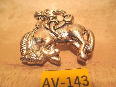 Vintage Old Store Inventory SILVER Color COWBOY BUCKING HORSE PIN MAKE OFFER