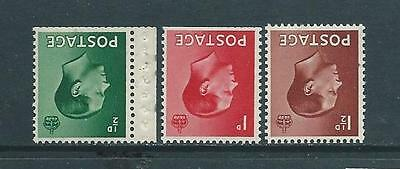 EVIII - 1/2d - 11/2d SET OF 3 WITH INVERTED WATERMARKS FINE U/M