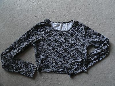 GREY & BLACK LACE EFFECT Print Long Sleeved Crop Top Size 10