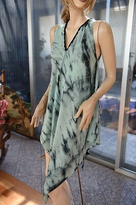 LIM'S 100% Silk Crepe De Chine Hand Tie-dye Asymmetry Dress Light Green Based Mu