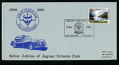 SILVER JUBILEE of JAGUAR DRIVERS CLUB First Day Cover + info card 25th June 1981