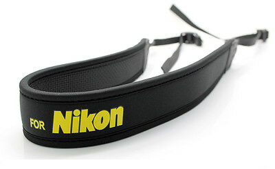 Shoulder Neck Strap for Nikon DSLR anti-slip weight reducing neoprene - Black
