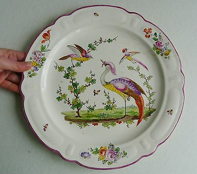 """18th/early 19th century creamware plate- Gold anchor- 13"""" Exotic birds/ insects"""