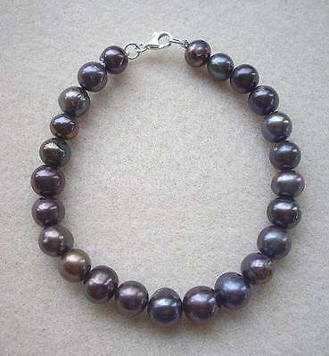 """New Shades of Blue Genuine Freshawater Pearl 7.5"""" Bracelet - Silver Clasp"""