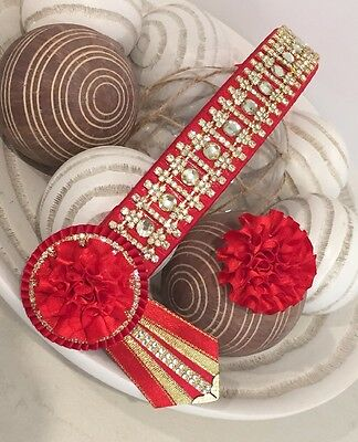 """New 14.5"""" Cob Size Browband Red & Gold Bling"""