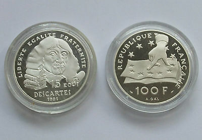 Piece Franc 100 F Descartes 1991 Argent Be Fdc Silver Proof Mdp