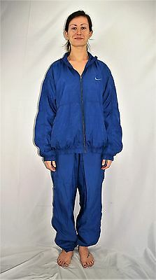 Vintage 90's Women's Blue NIKE Nylon Windbreaker Track Suit Size L (12/14)