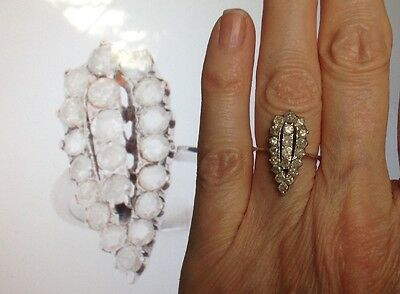 French Art Deco 18ct Gold Pear Shape Diamond Cluster Ring,size K, 2.4gm